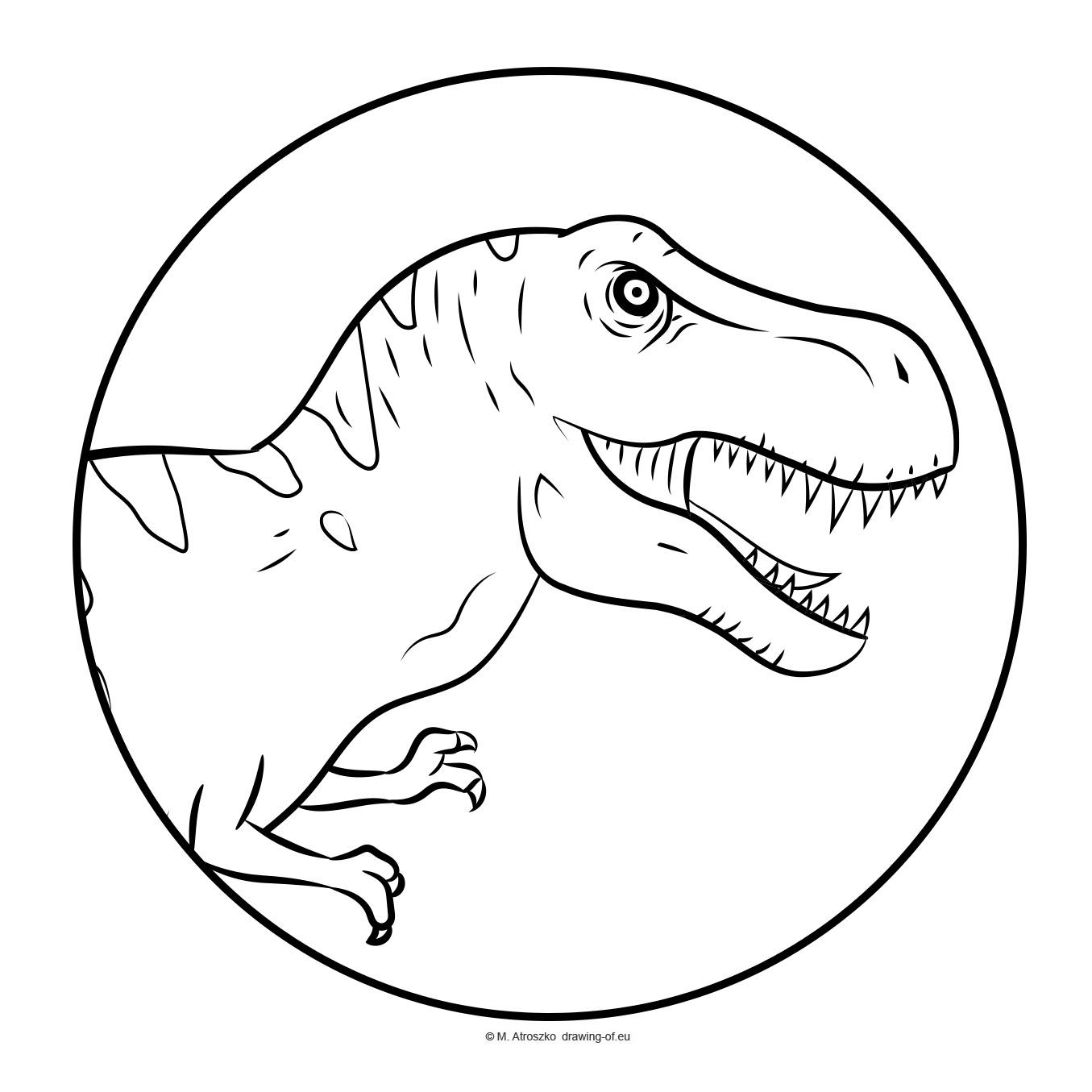 Circle coloring page - dinosaur