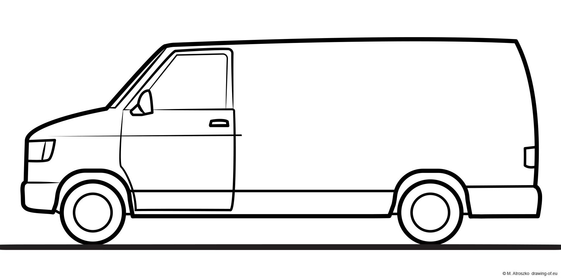 drawing of van - transport car