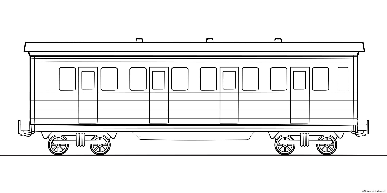 Illustration of vintage railroad car