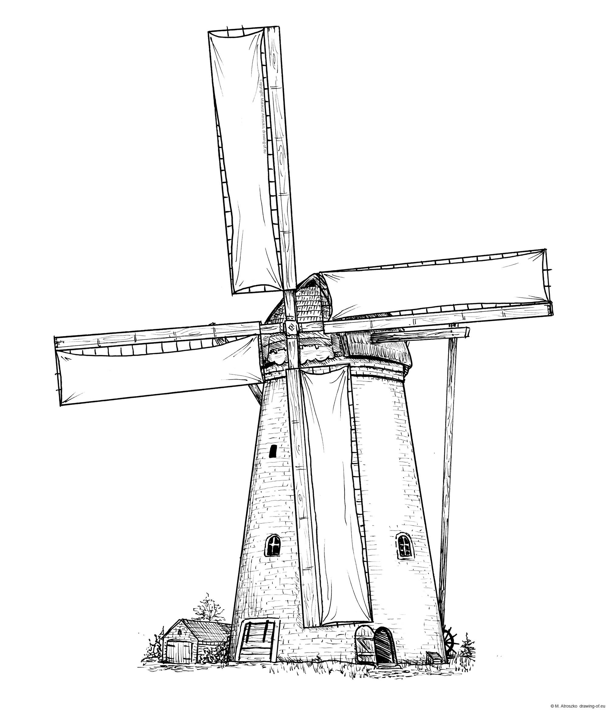 Drawing of windmill