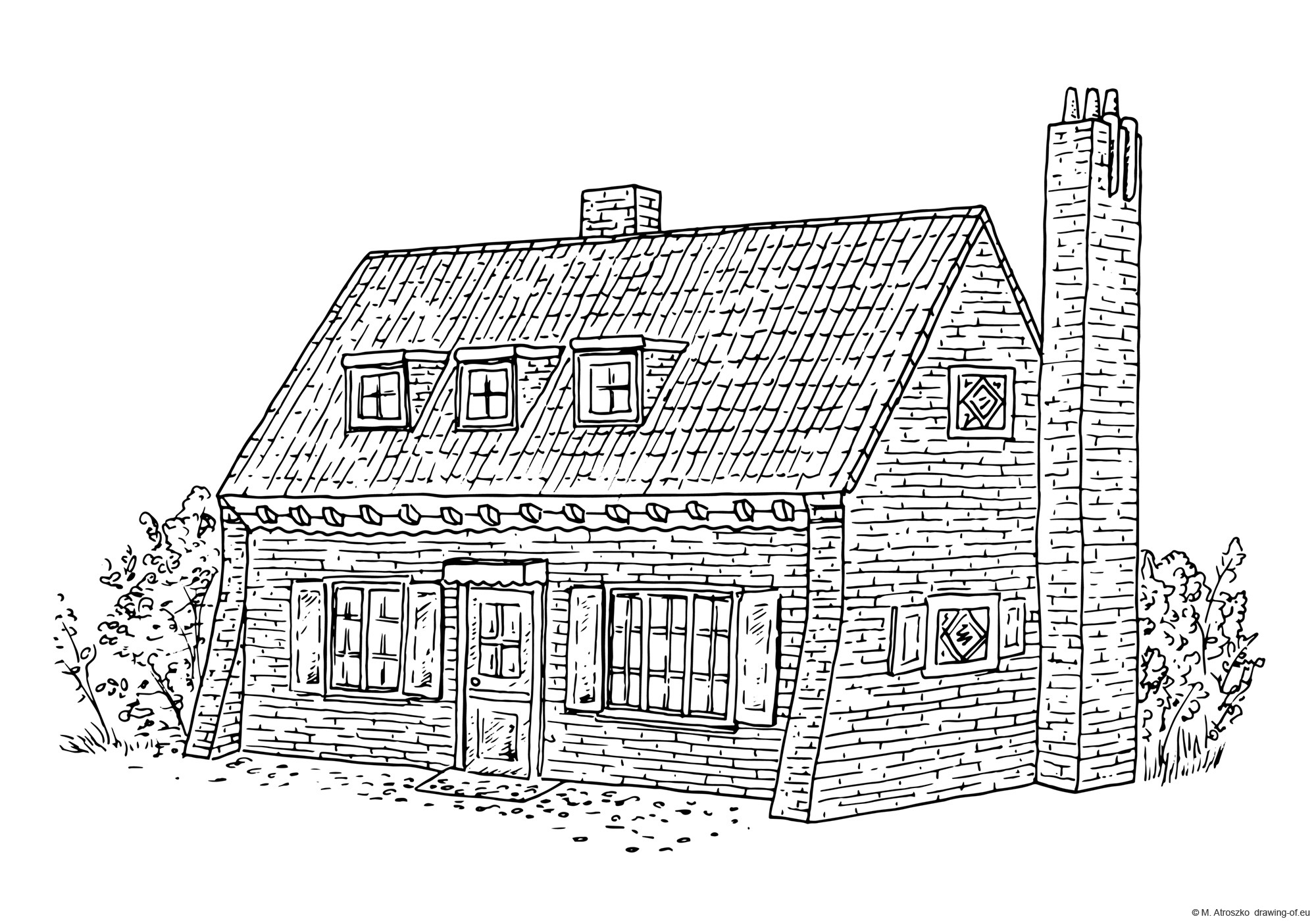 Drawing of Dutch house