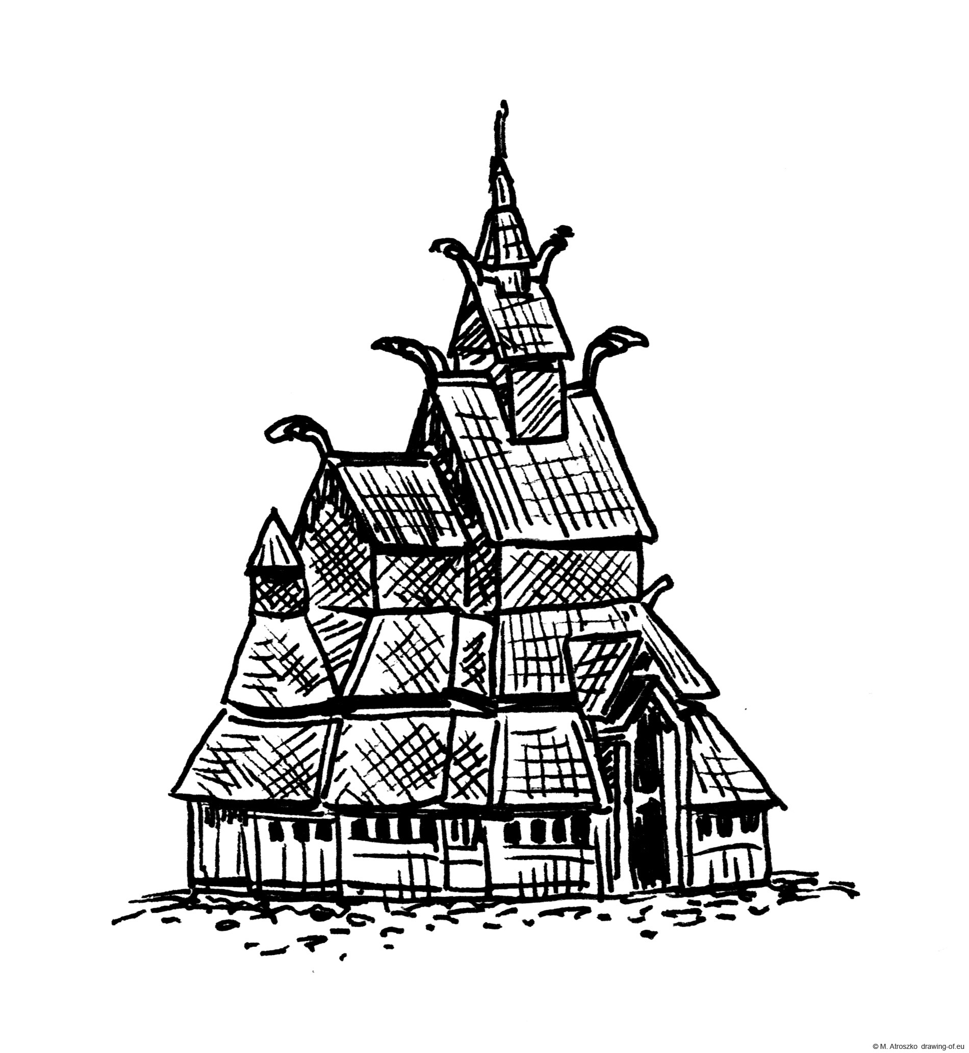 Drawing of Norwegian Stavechurch