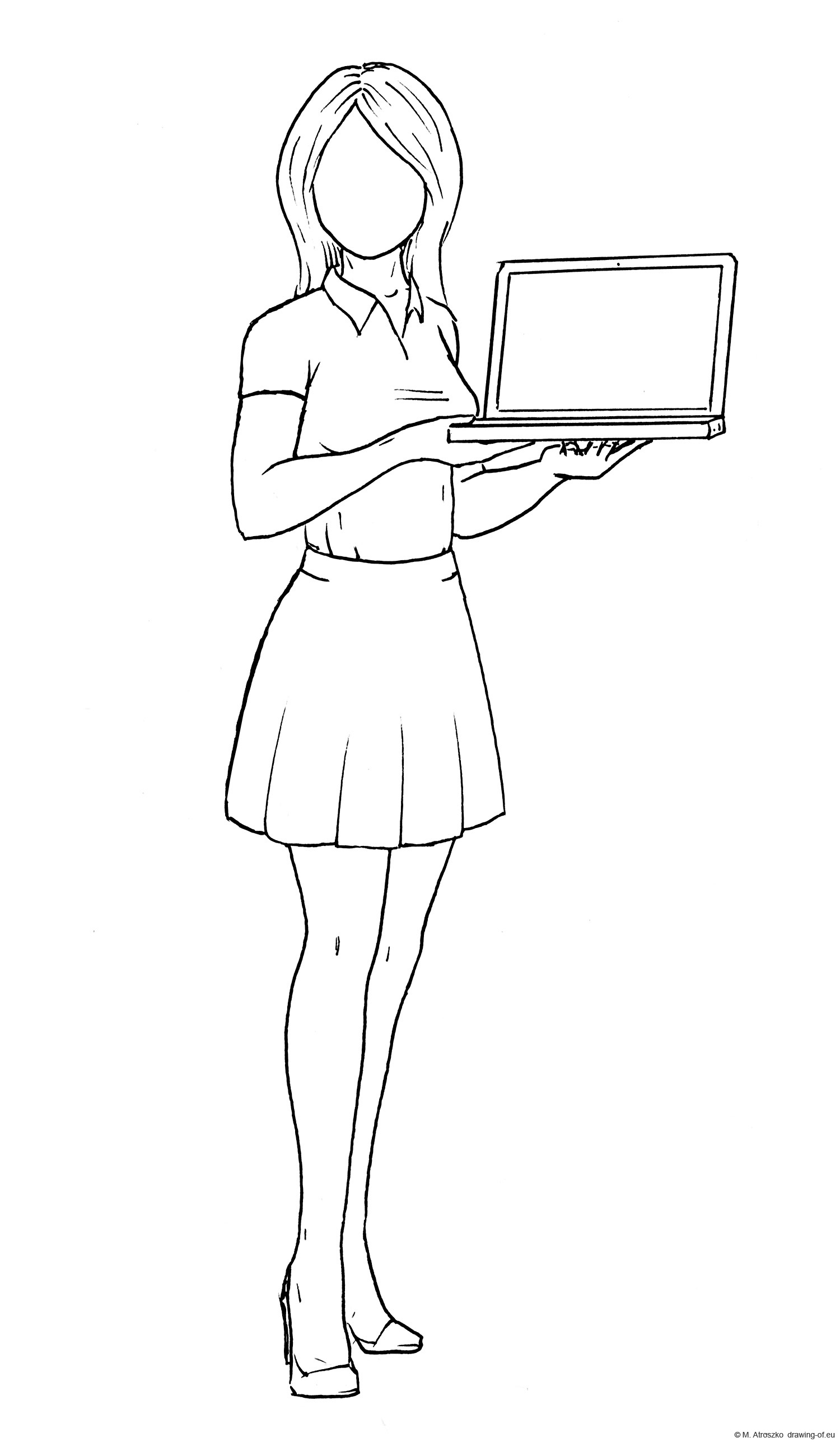 Woman with laptop draw