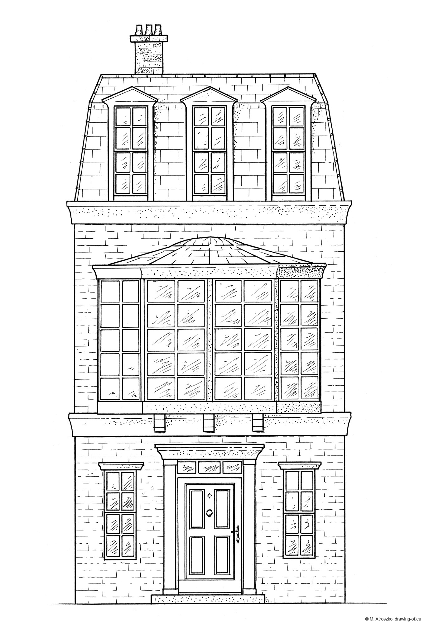 Drawing of victorian style building