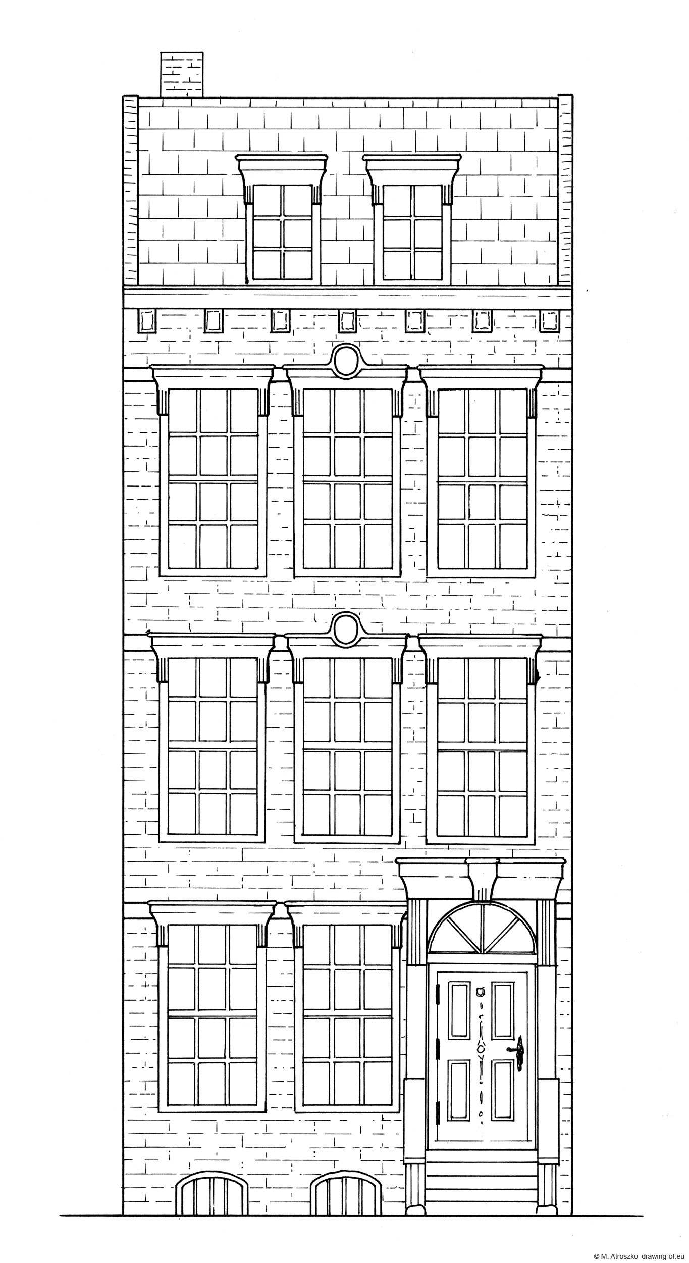 Drawing of row building