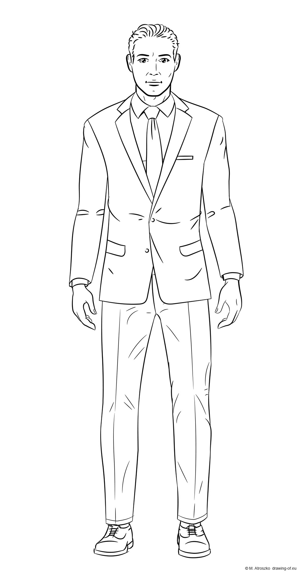 Drawing of man in suite