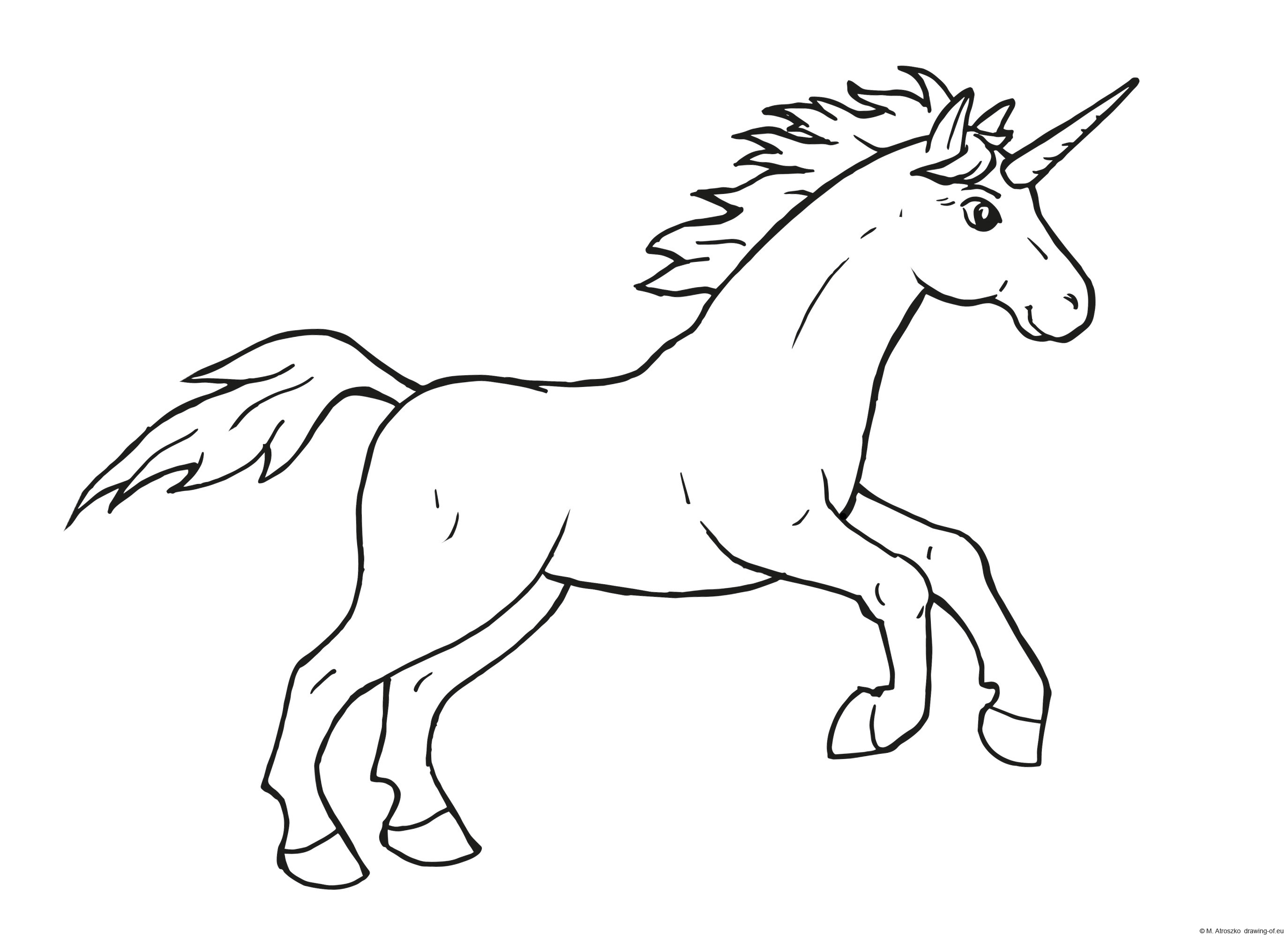 Drawing of unicorn for print
