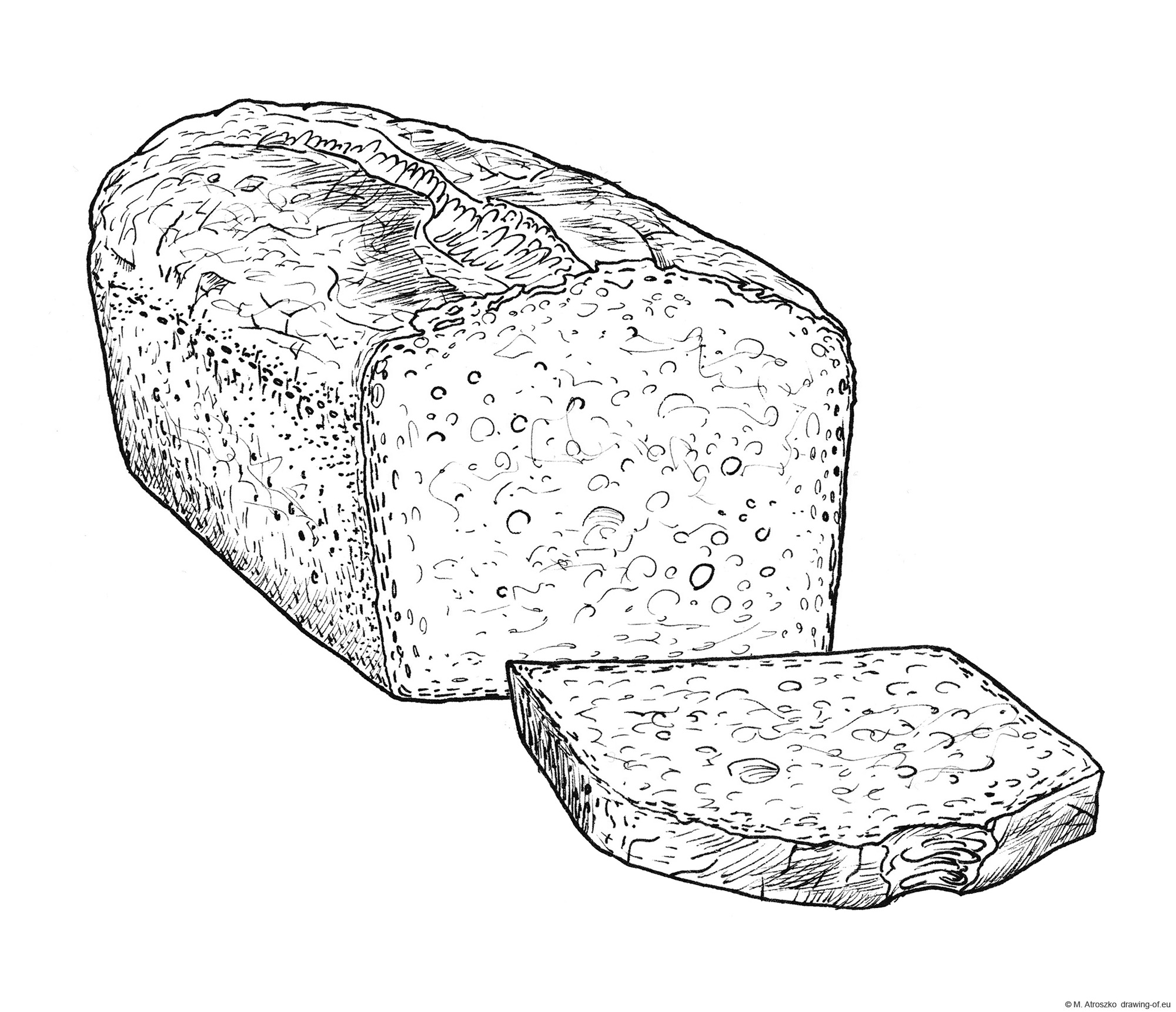 bread with slice -drawing