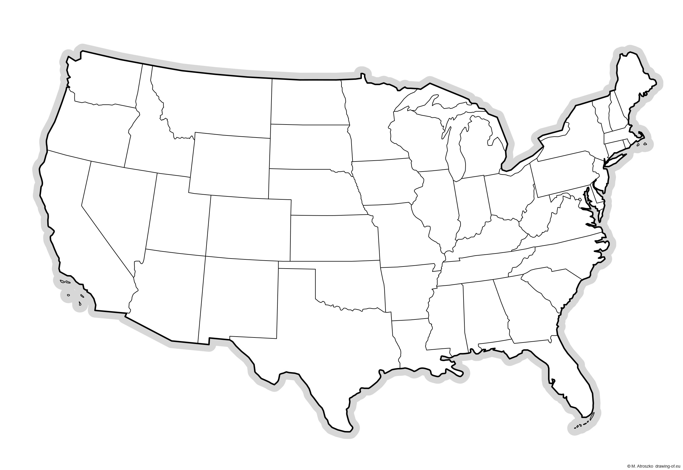 Continental USA map for printing