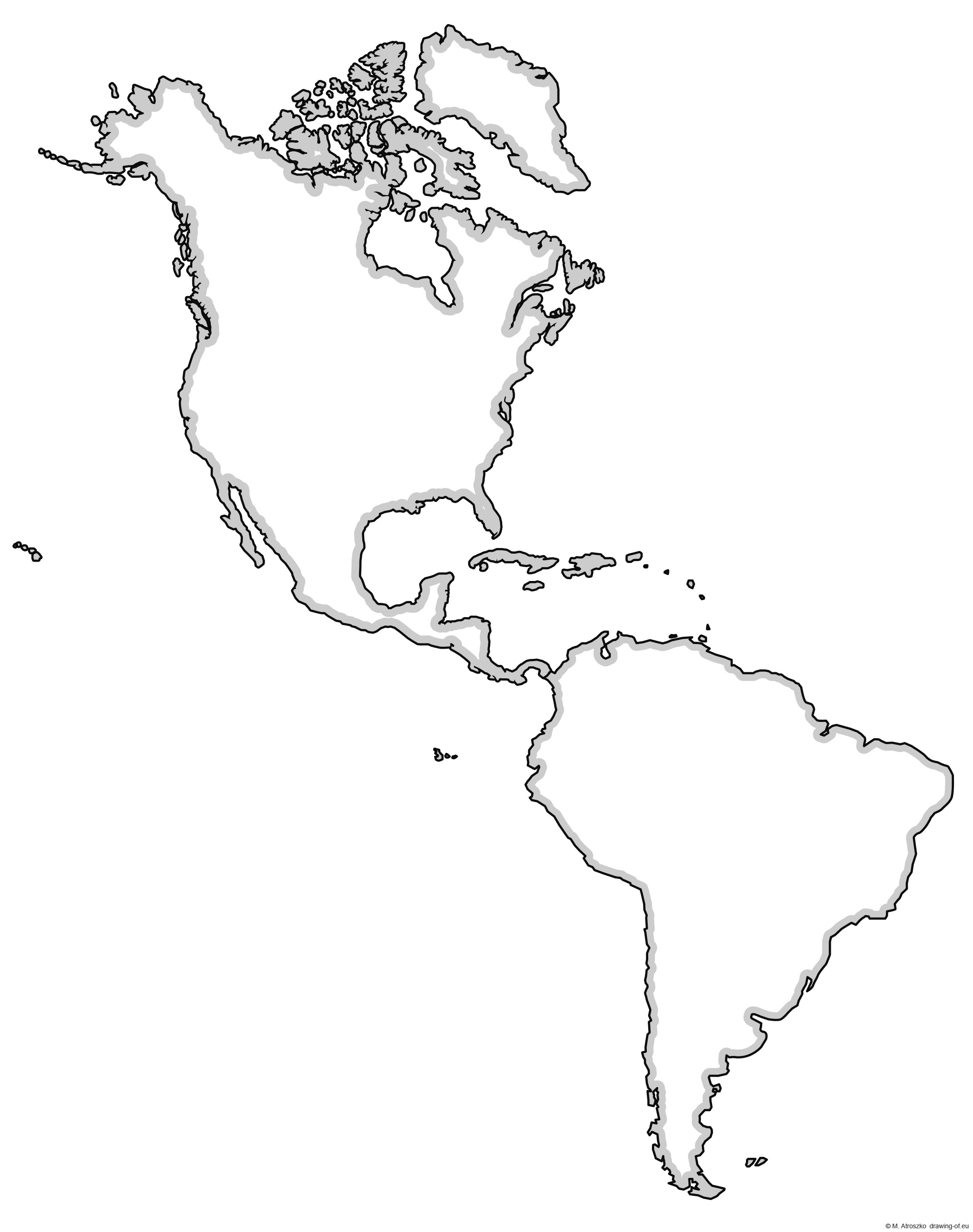 Map of America - North and South