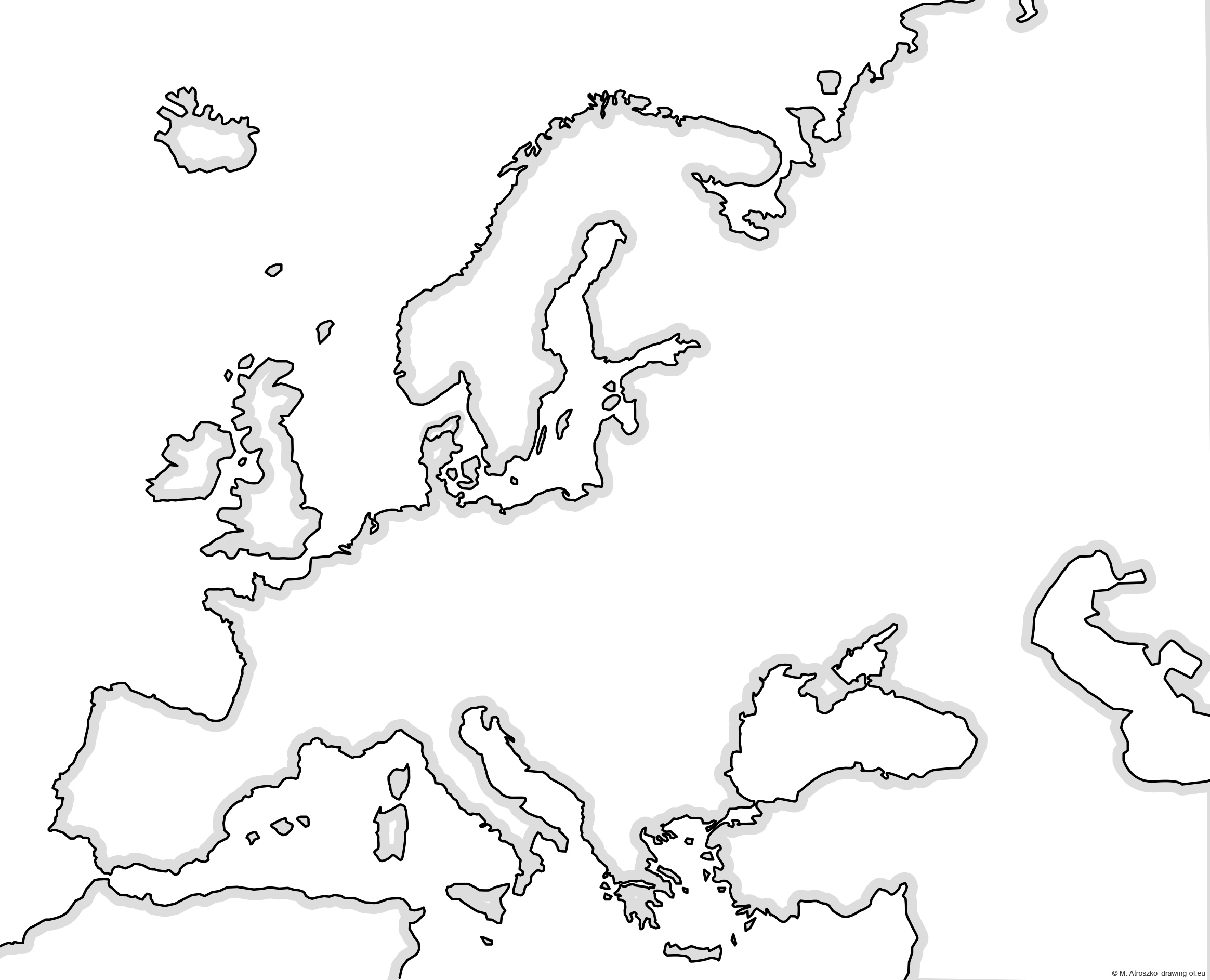 Map of europe for print