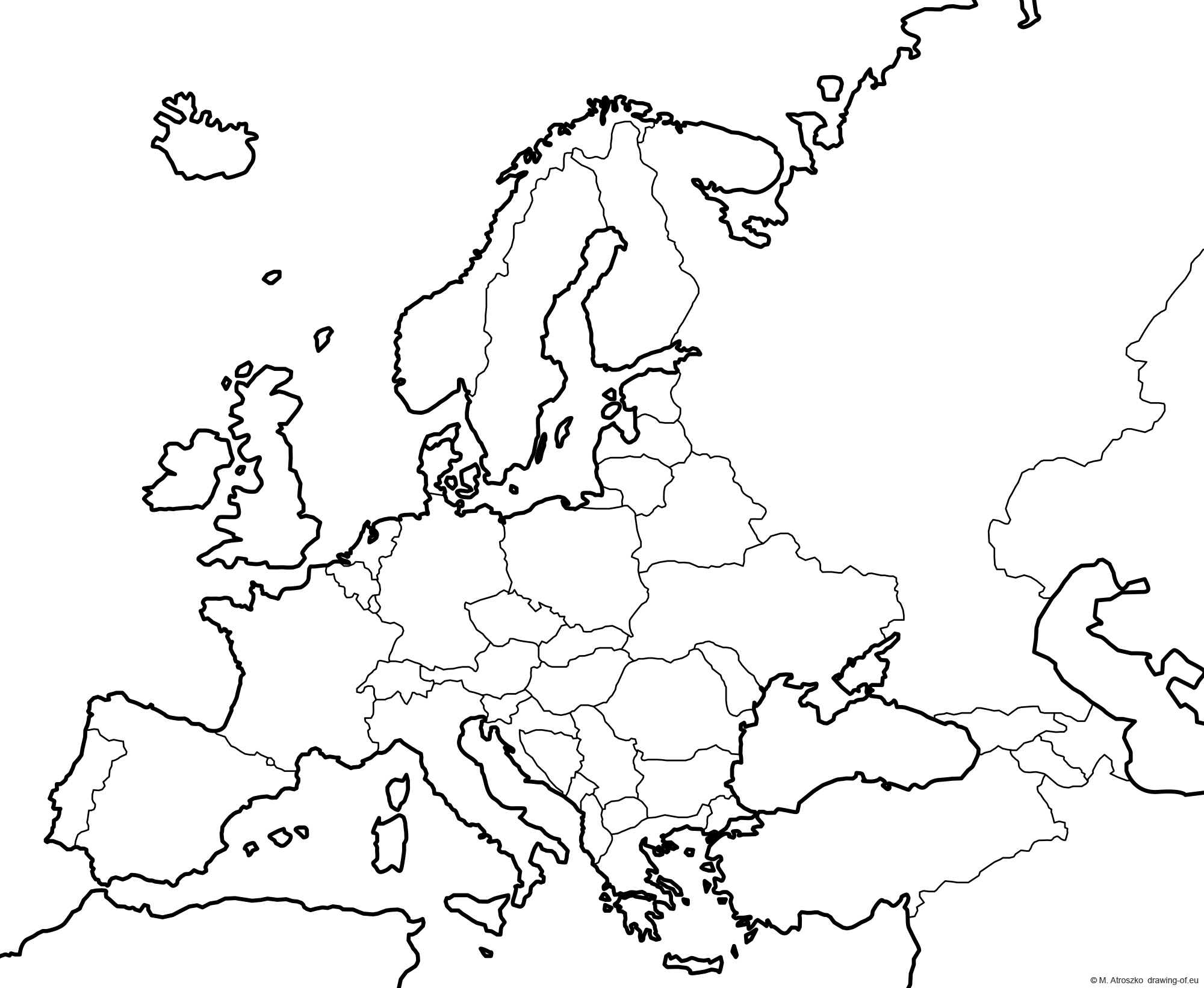 Map of Europe - political - for print