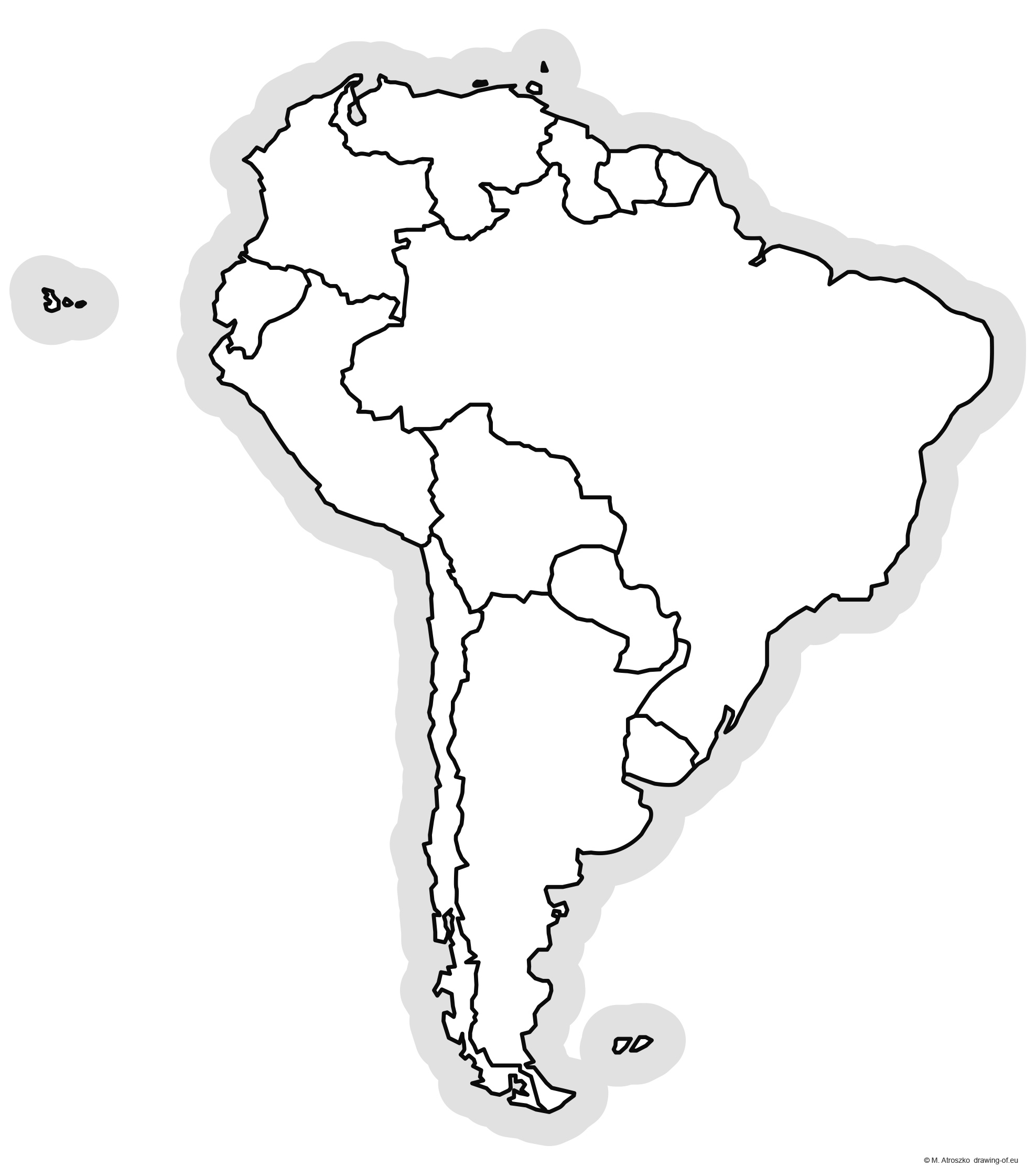 Political map of South America for printing
