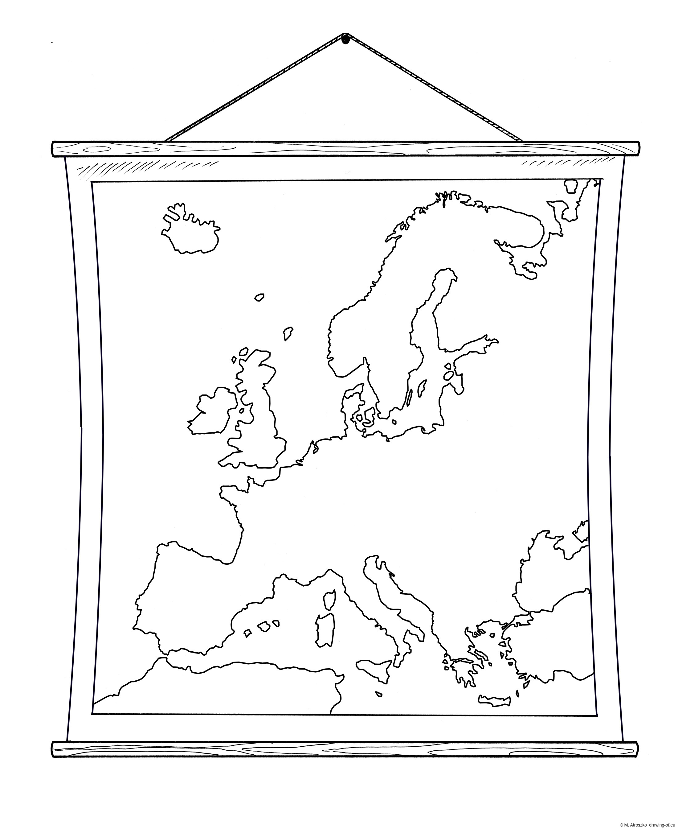 School wall map of Europe