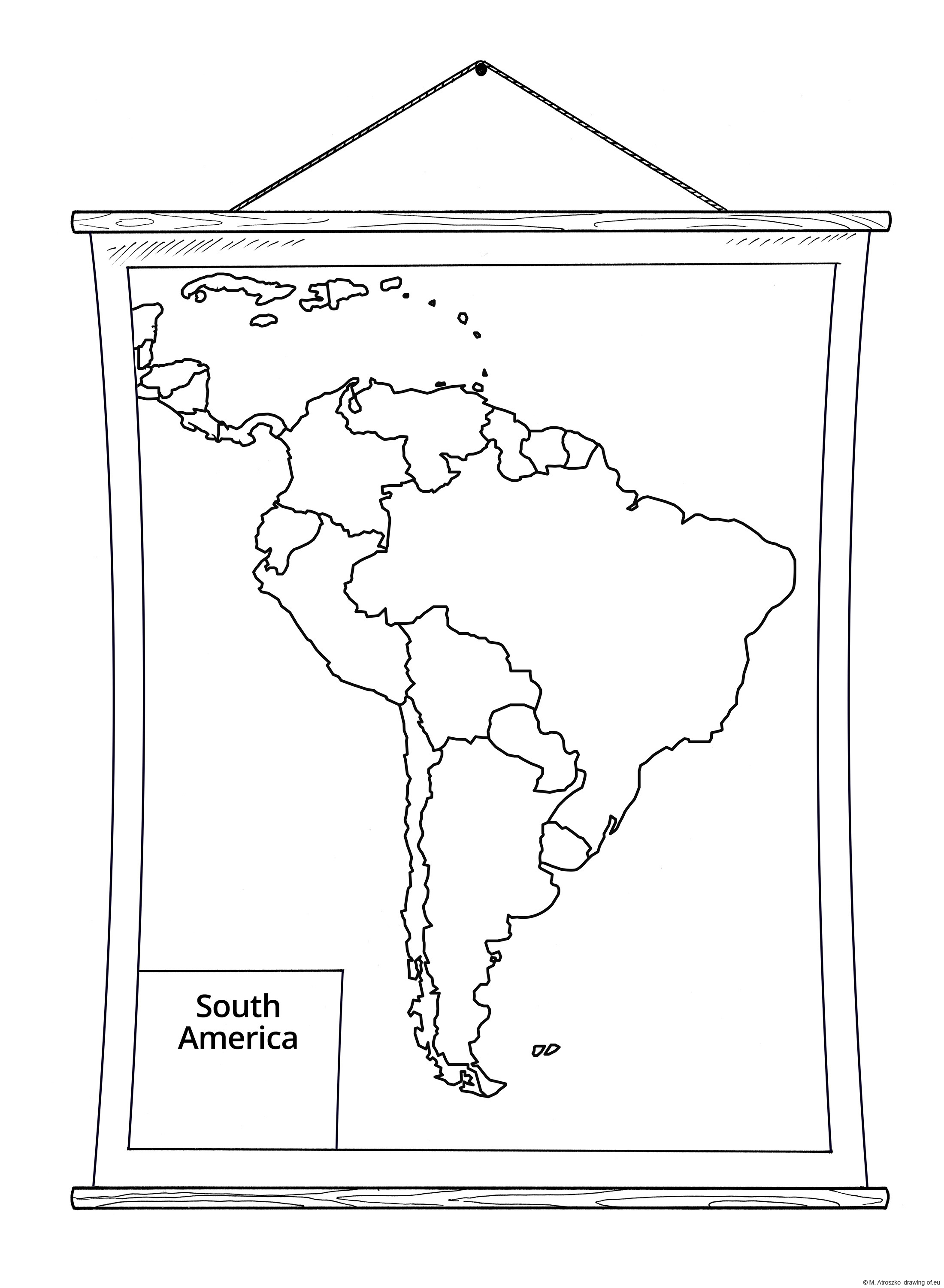 School wall map of South America