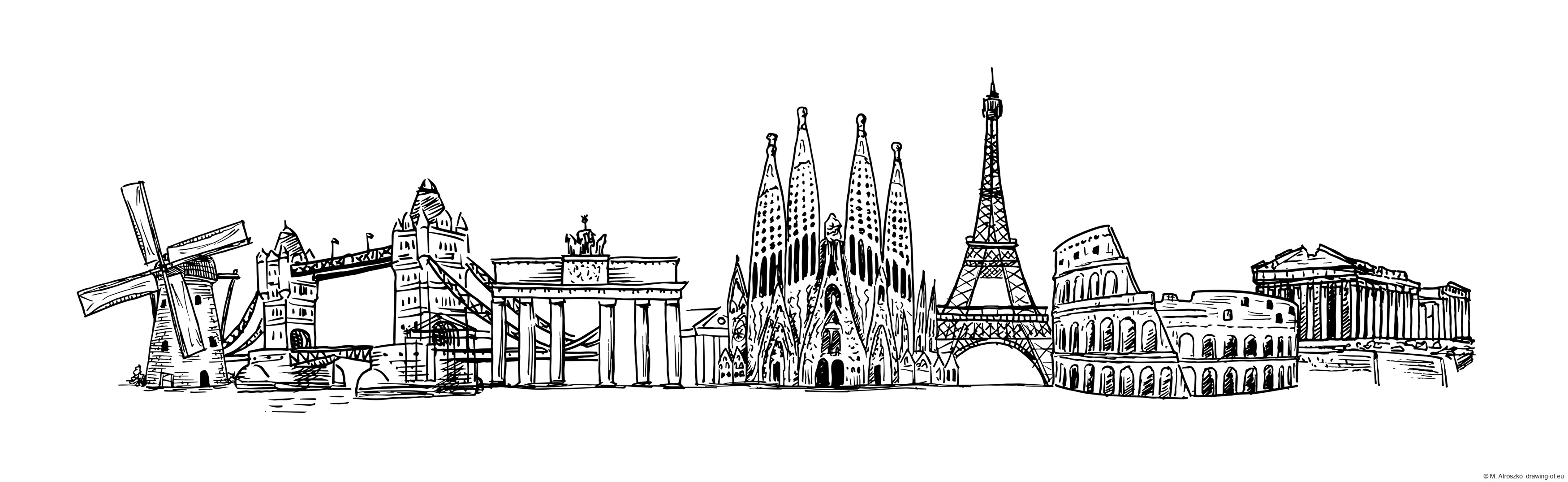 Famous buildings of Europe draw