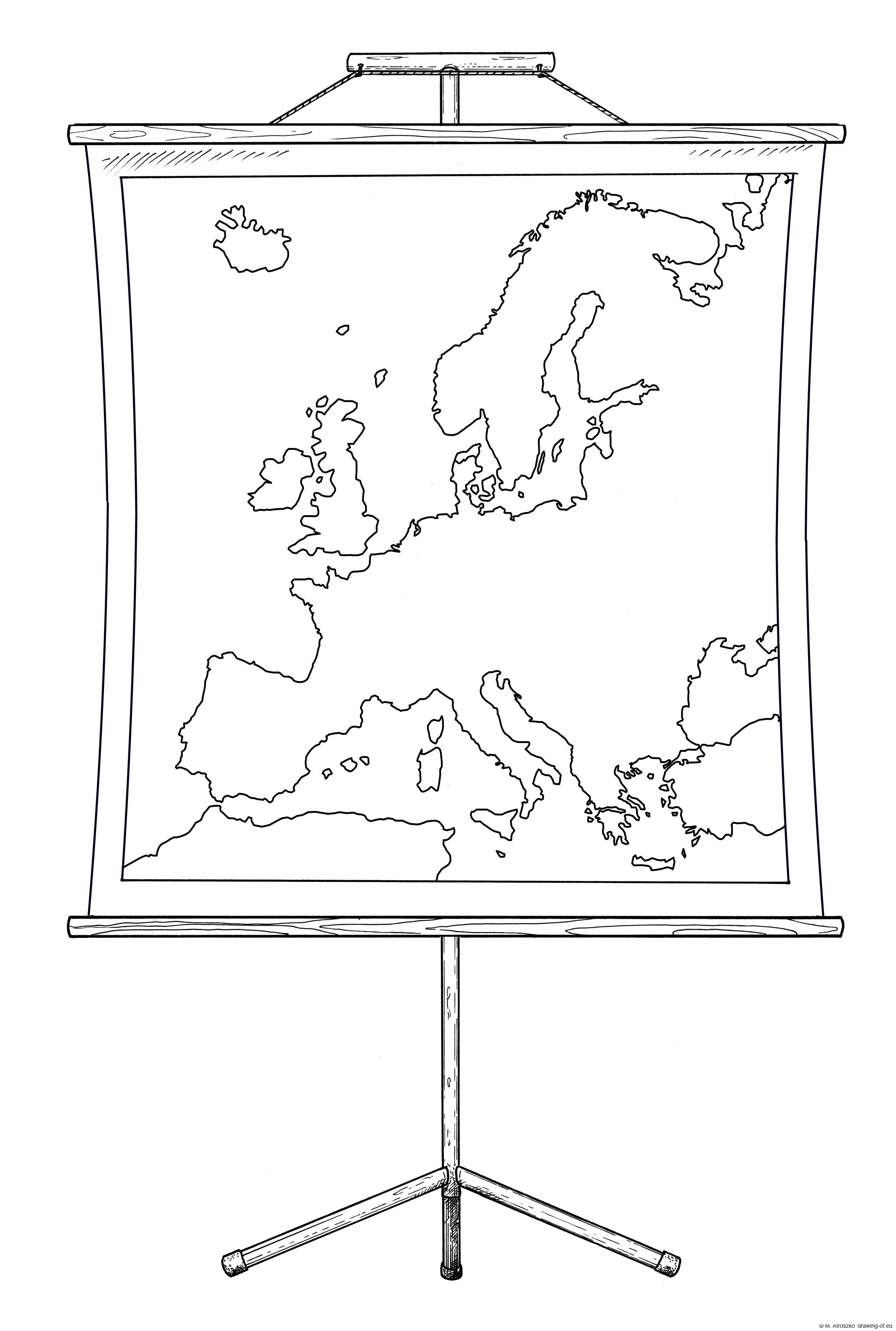 Europe map on stand
