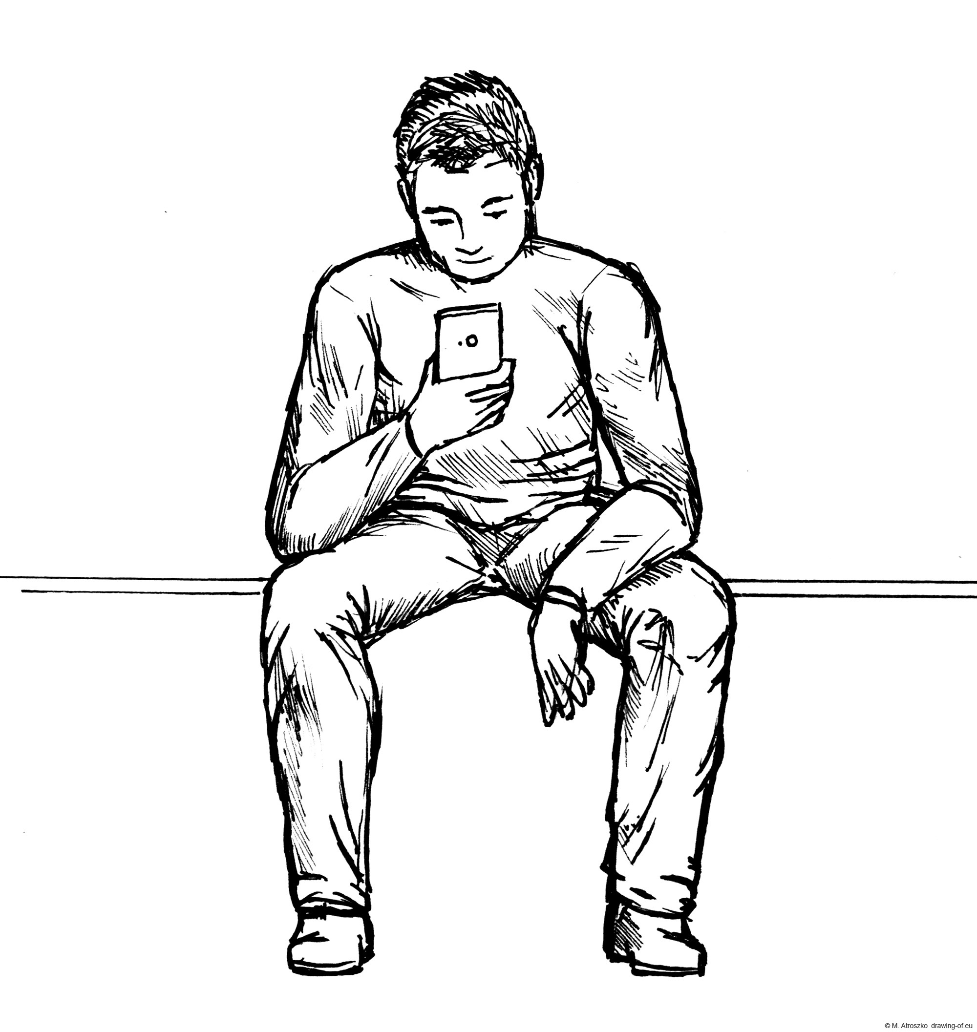 Man sitting on bench with smartphone