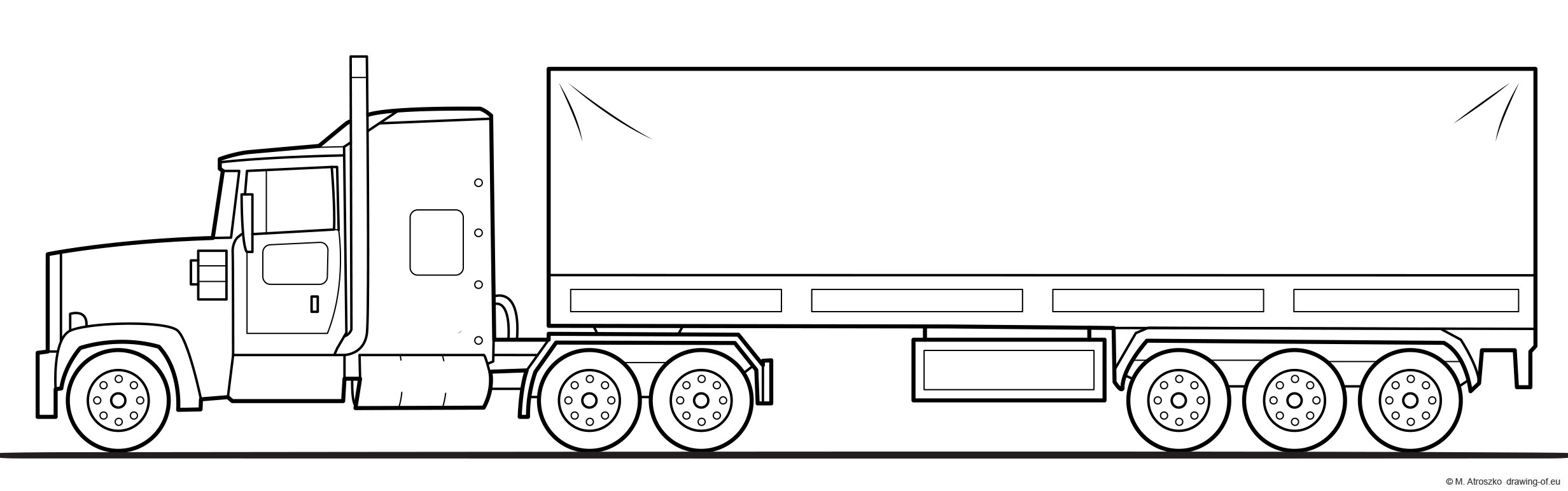 American truck with trailer - coloring page