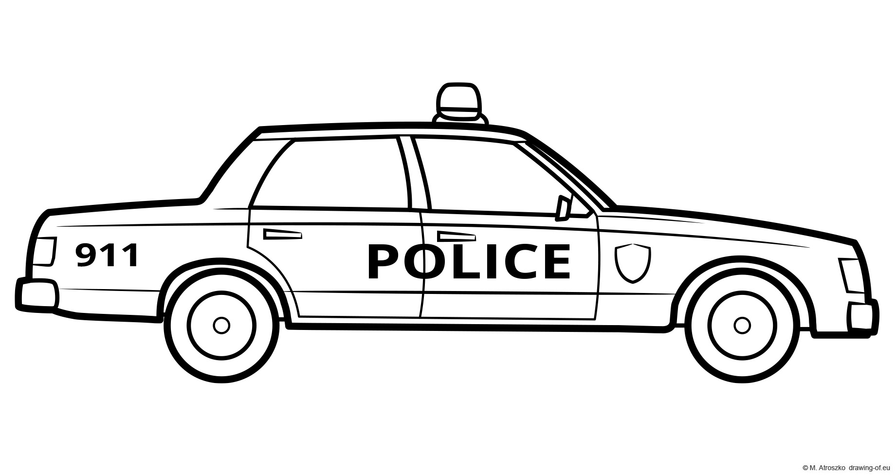 Classic police car coloring page