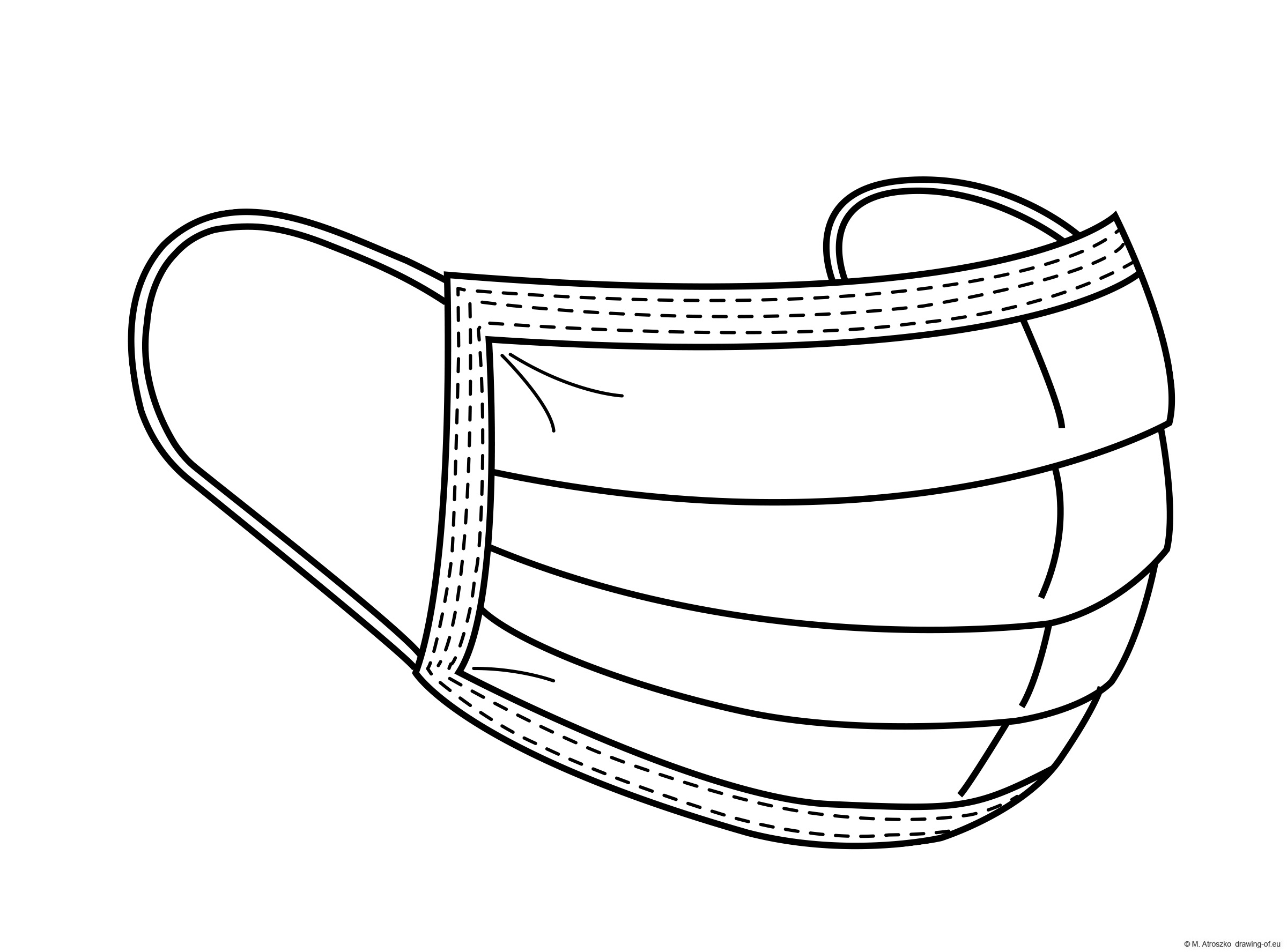 Covid mask illustration - coloring page