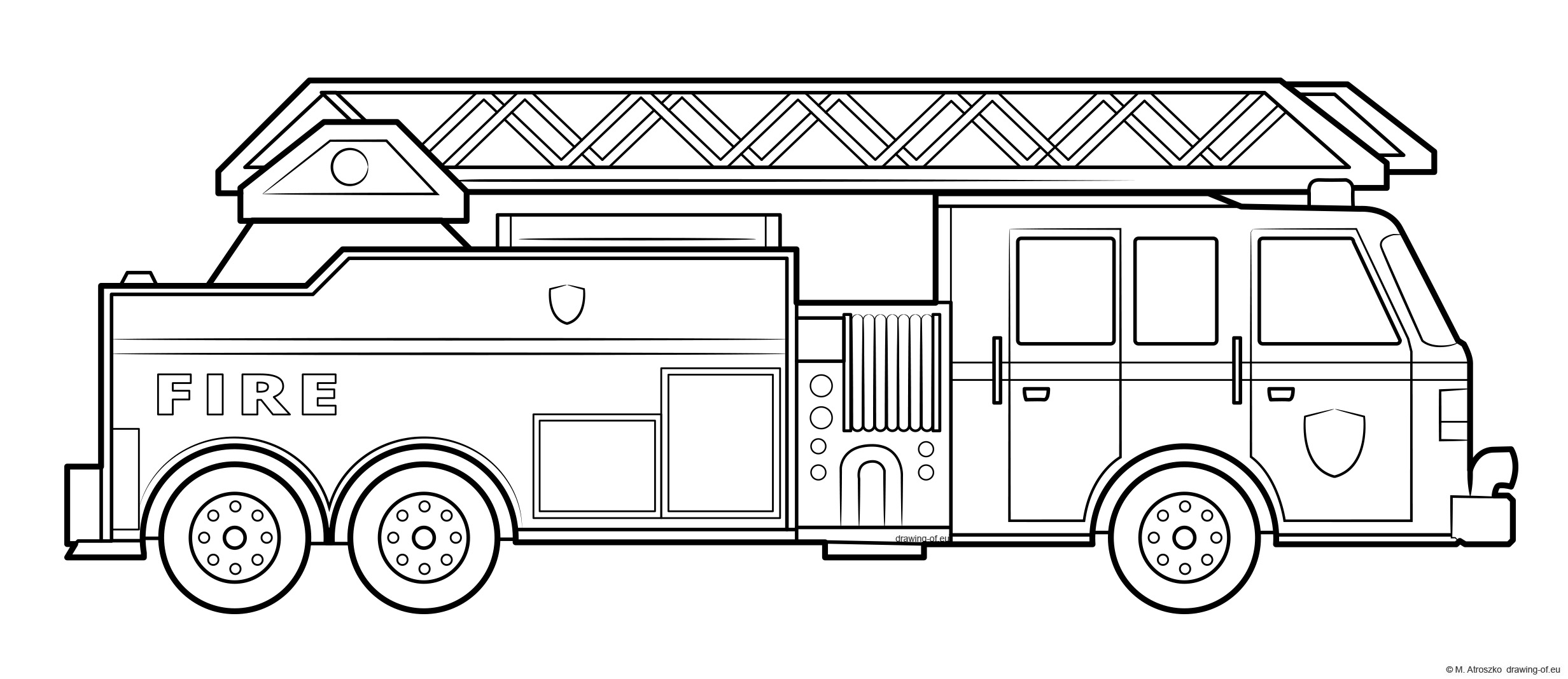 American fire truck coloring page - draw
