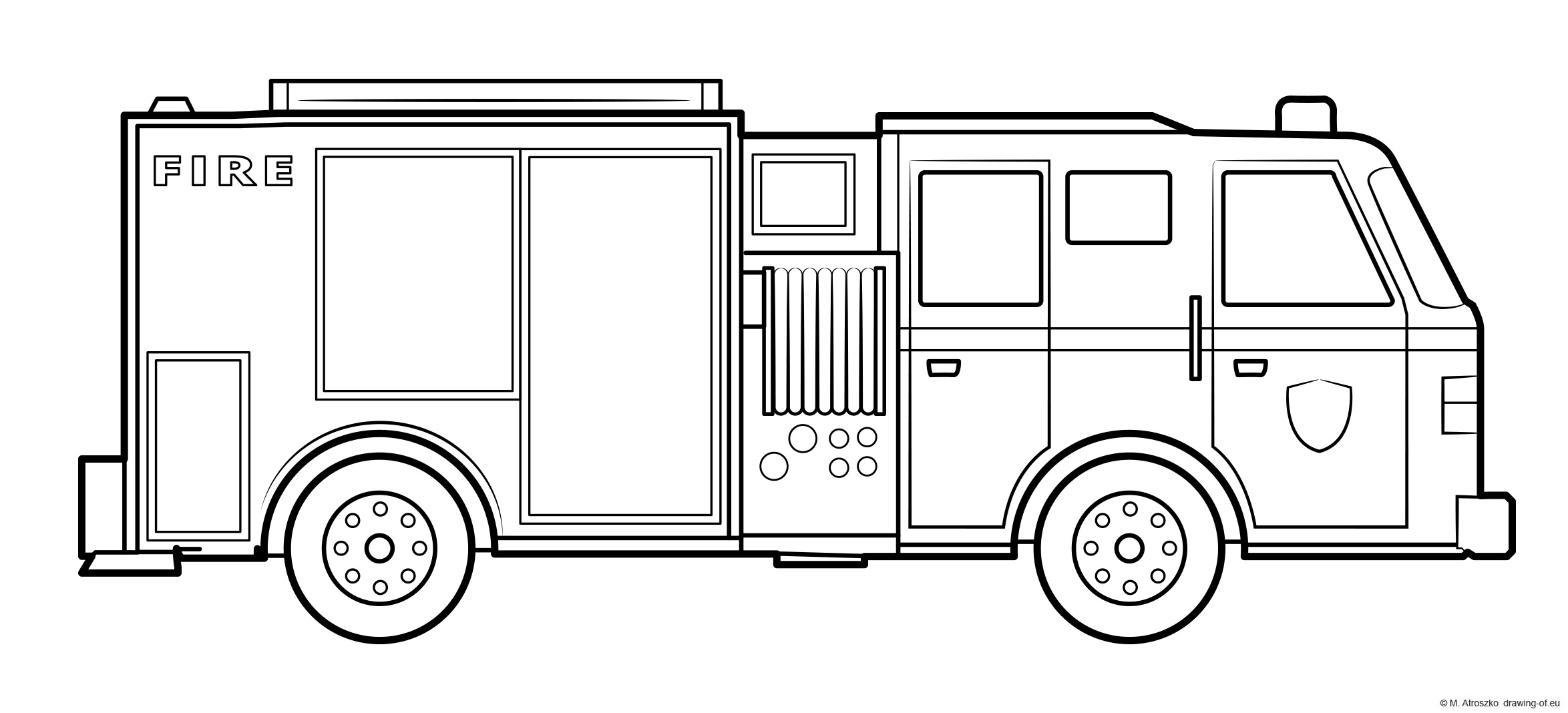 Fire engine draw - truck coloring page