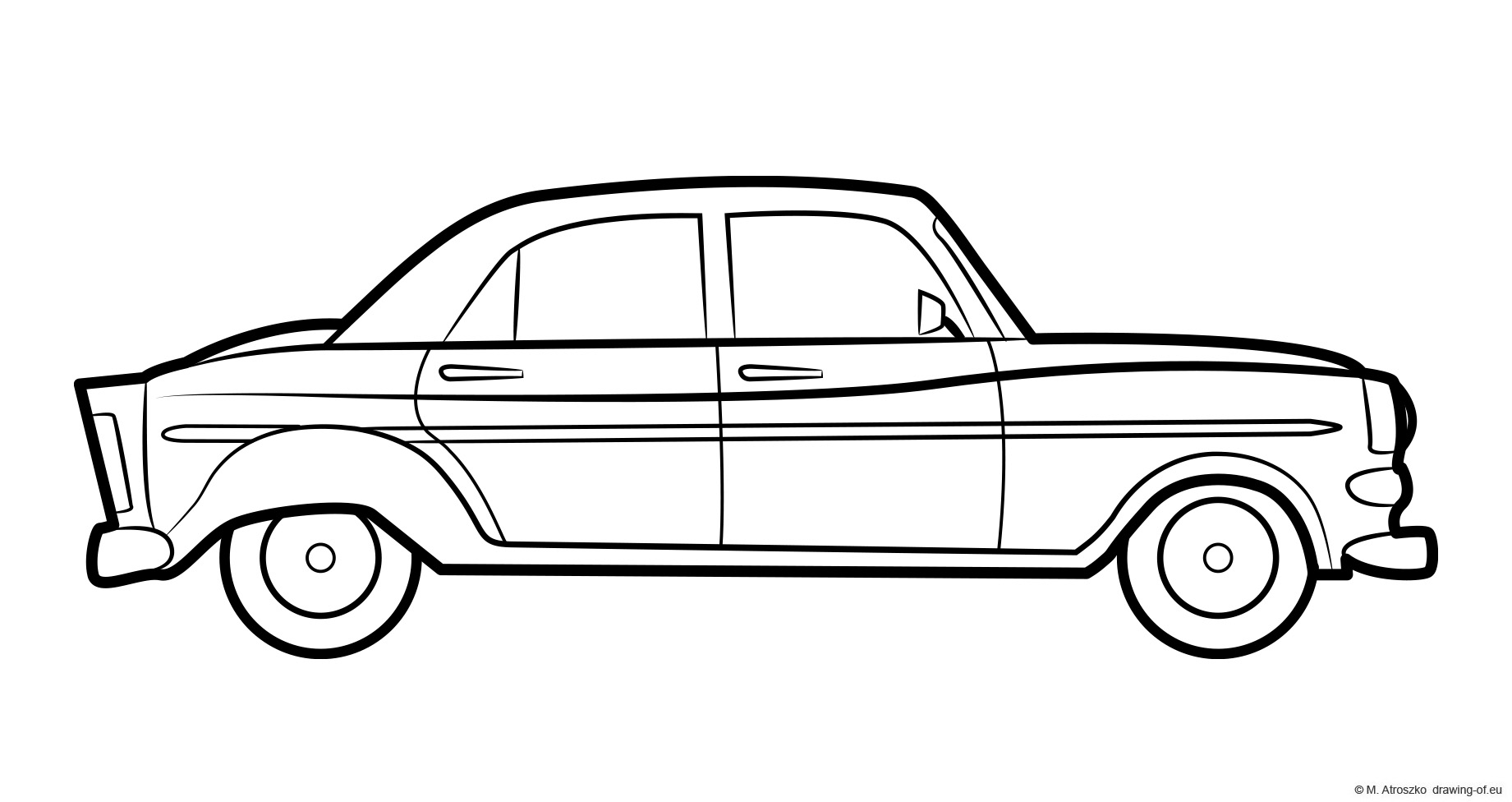 Old car drawing - classic chevrolet, 50's