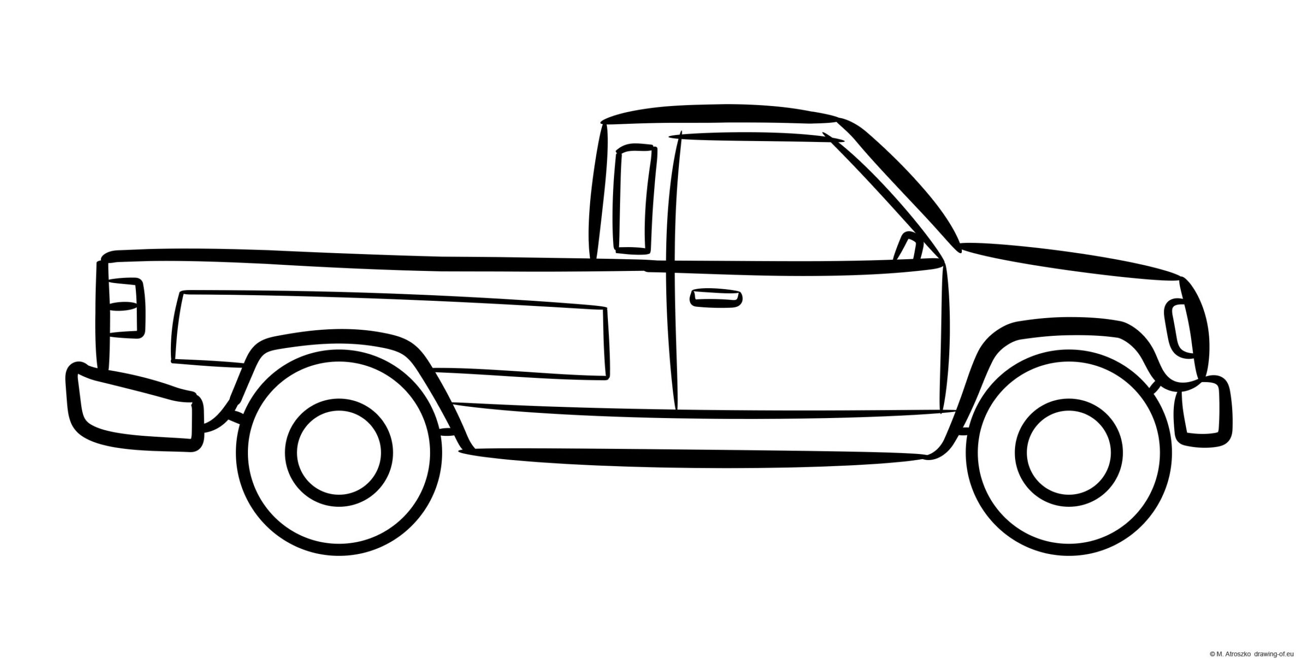 Drawing of a pickup truck