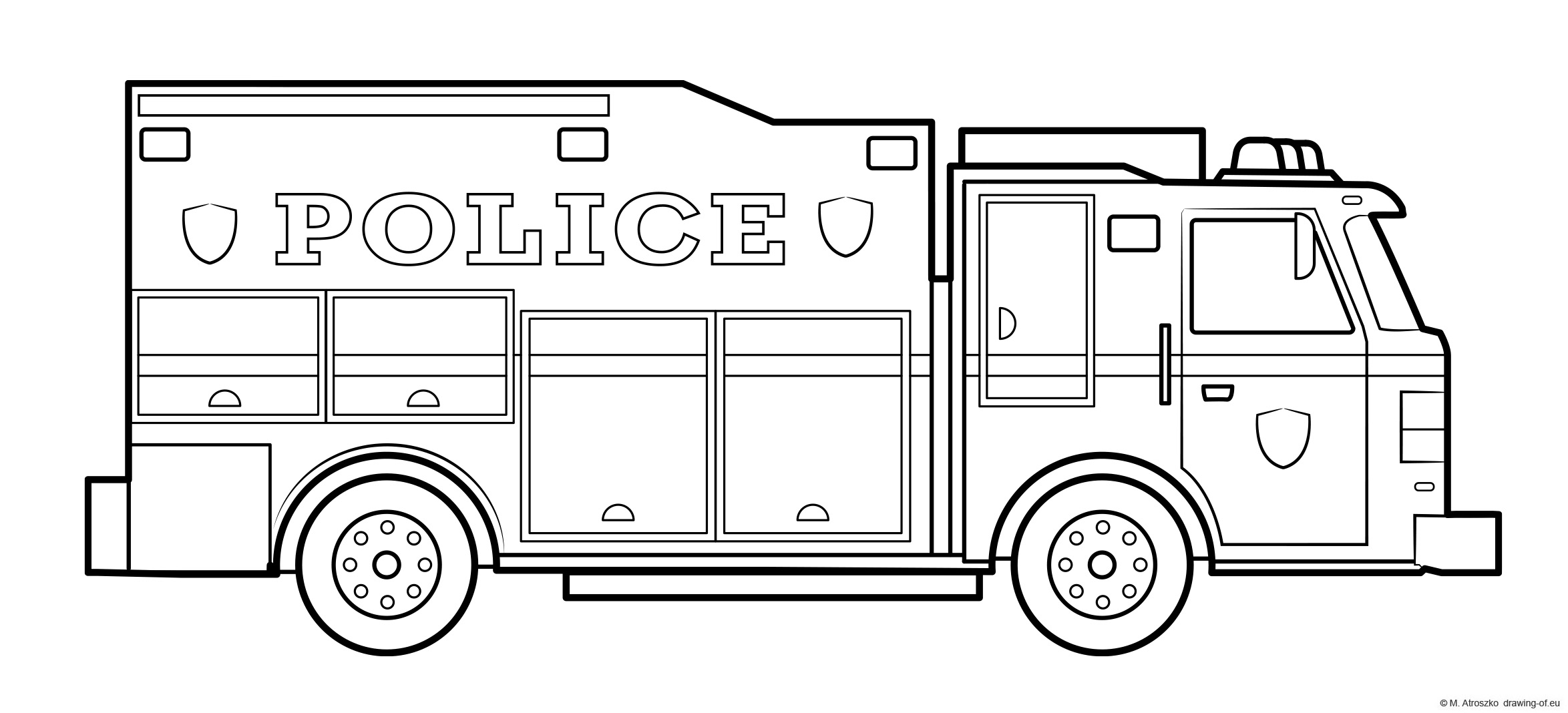 Police truck drawing - coloring page of emergency unit