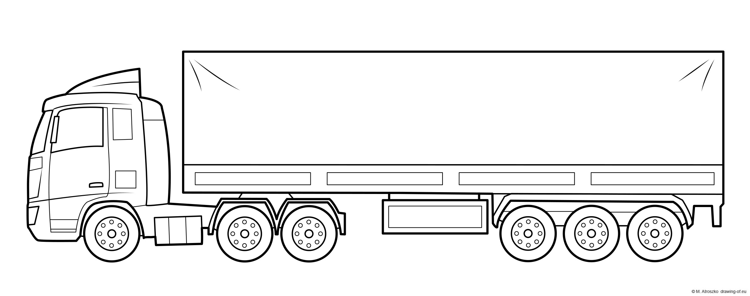 Truck and trailer coloring page