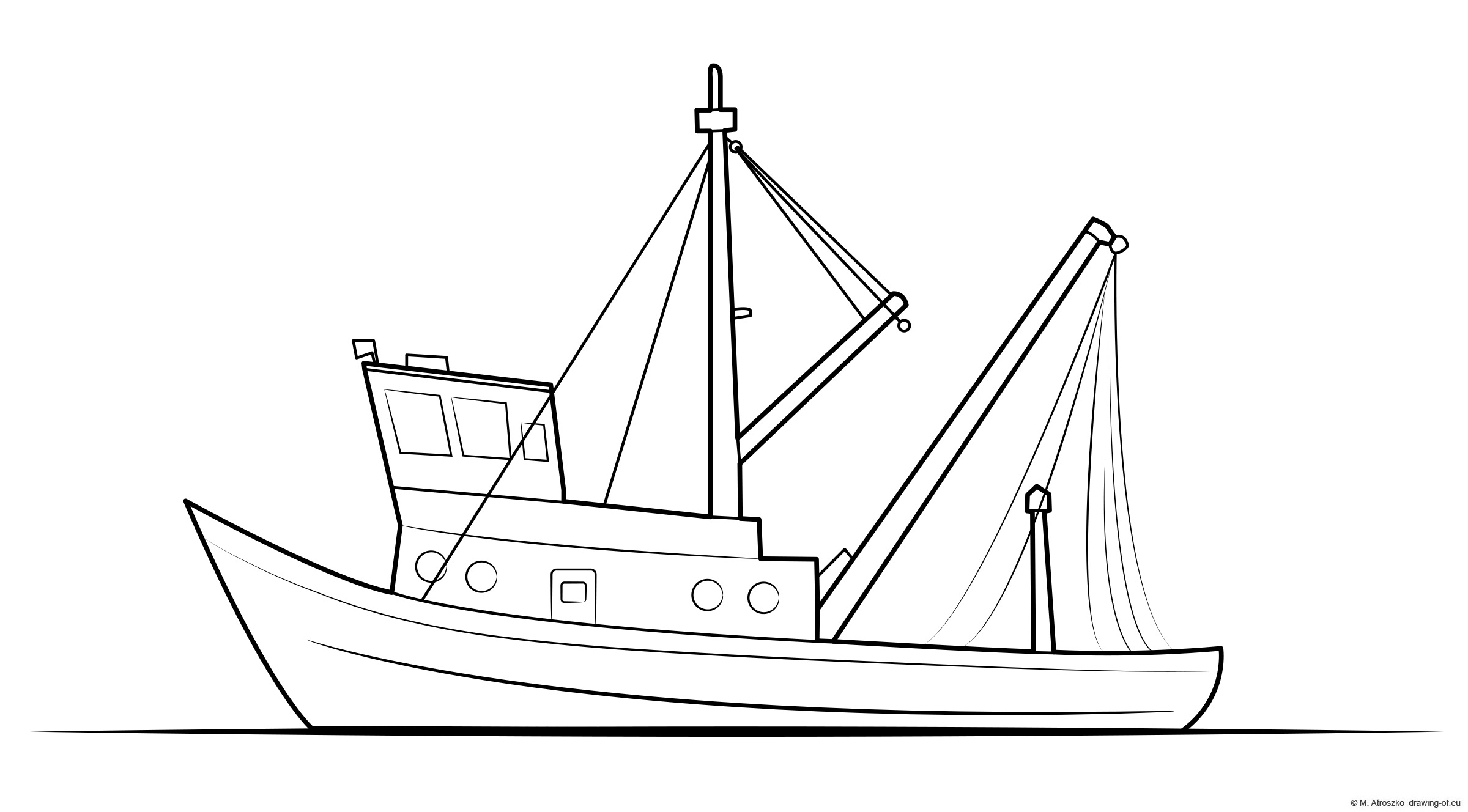 Fishiong boat coloring page