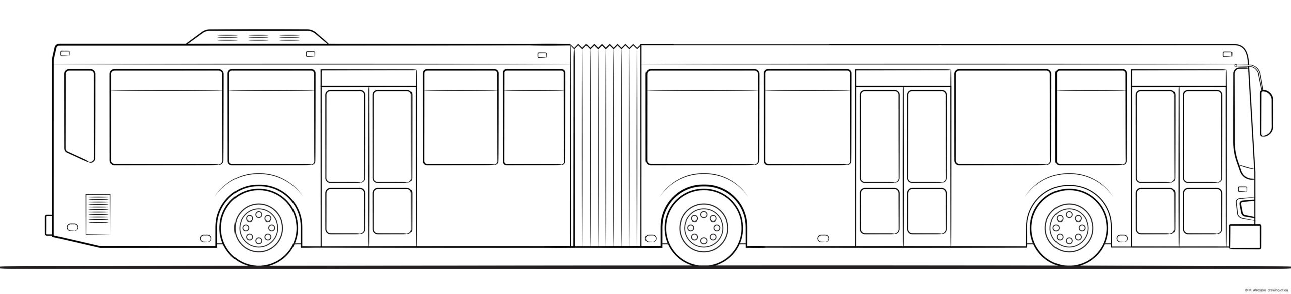 city bus - long. Coloring page
