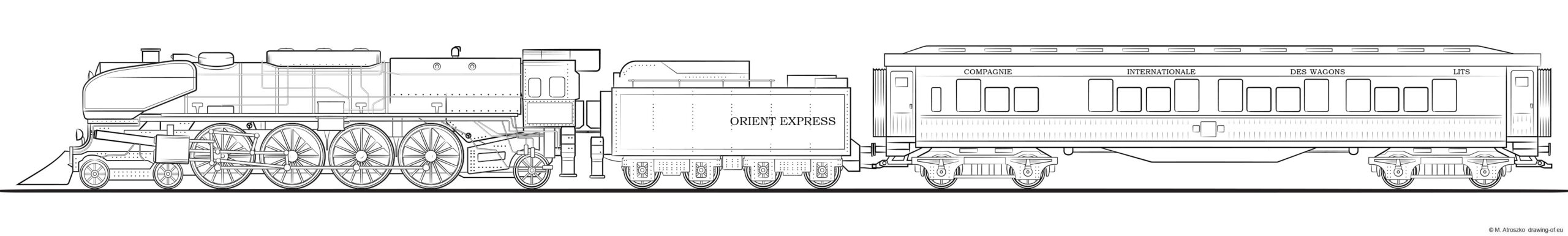 Orient express train drawing